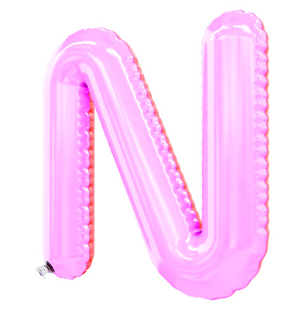 N letter shaped inflatable swim ring, 3d rendering