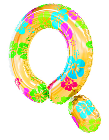 Q letter shaped inflatable swim ring, 3d rendering