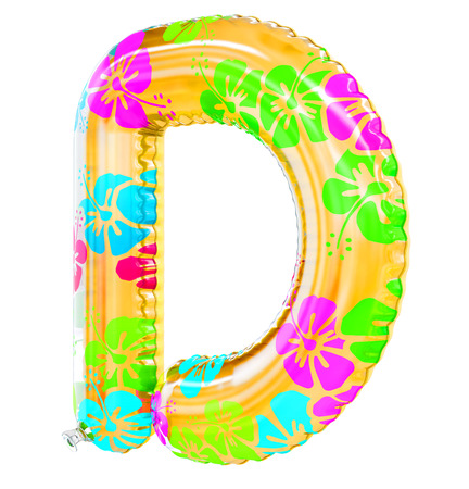 D letter shaped inflatable swim ring, 3d rendering