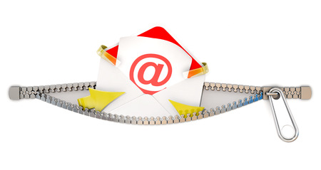 E mail icon poping out from white background through a zipper, 3d rendering