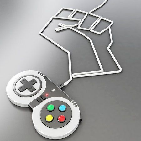 video game controler with wire shaping a fist, 3d rendering