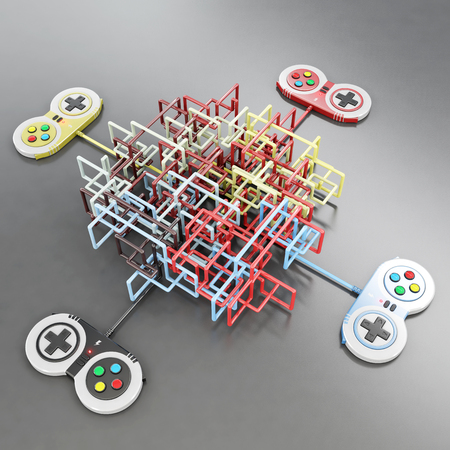 video game controlers connected with wire shaping a maze, 3d rendering 版權商用圖片