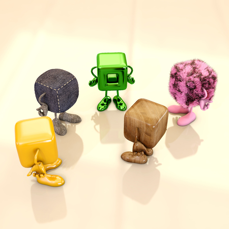 Funny cube characters talking, 3d rendering