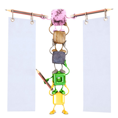 Empty note with funny cube characters, 3d rendering Stock Photo