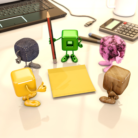 Empty postit with funny cube character, 3d rendering