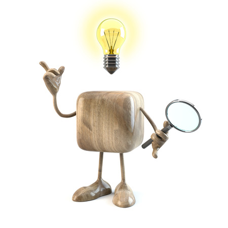 funny 3d character having an idea, 3d rendering