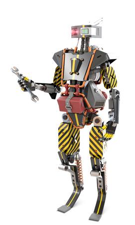 Working robot worker, 3d rendering