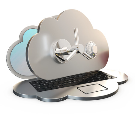 computer shaped as a cloud locked by safe deposit box's door over white background, 3d rendering Archivio Fotografico
