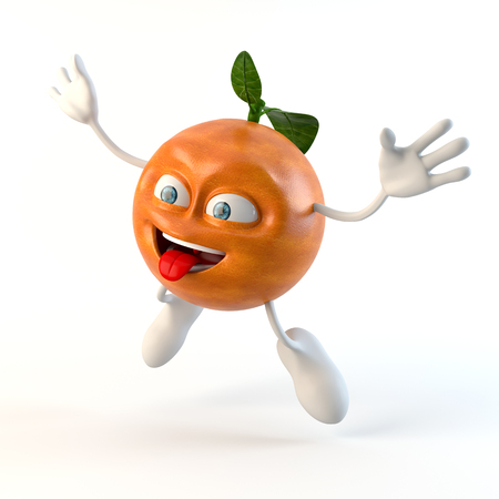 jumping funny 3d fruit character