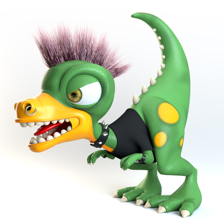 funny threatening punk dinosaur character over white background