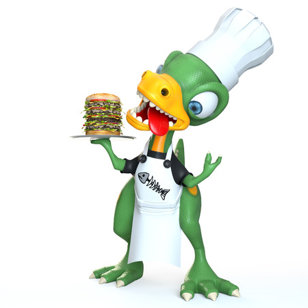 funny dinosaur cook character holding food over white background Stock Photo