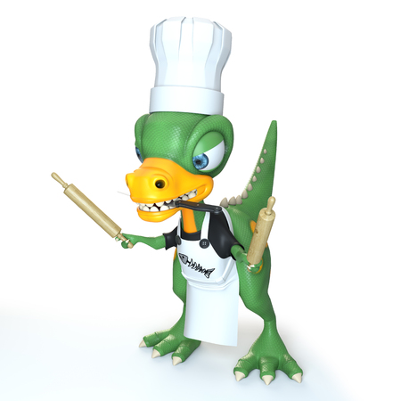 funny dinosaur cook with rolling pin and knife between teeth over white background
