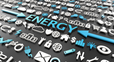 energy word with 3d icons over black background 스톡 콘텐츠
