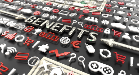benefits word with 3d icons over black background Imagens