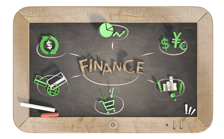 finance word with 3D icons on slate chalkboard