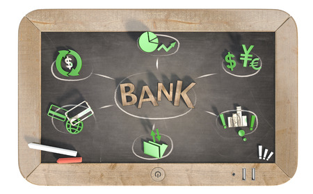 bank word with 3D icons on slate chalkboard 스톡 콘텐츠