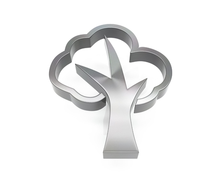 3d brushed metal tree icon over white background Banque d'images