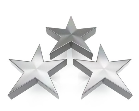 3d brushed metal triple star icon over white background