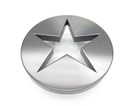 3d brushed metal star icon over white background Stock fotó
