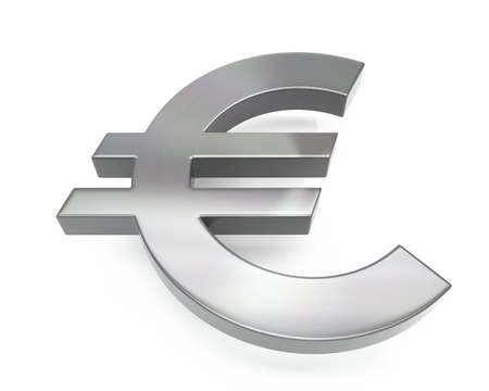 3d brushed metal euro icon over white background