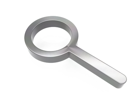 3d brushed metal magnifying glass icon over white background Stock fotó