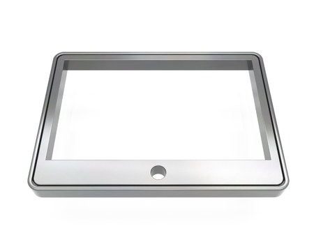 3d brushed metal tablet icon over white background