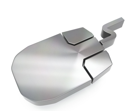 3d brushed metal mouse computer icon over white background
