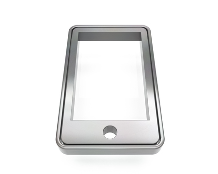 3d brushed metal cell phone icon over white background