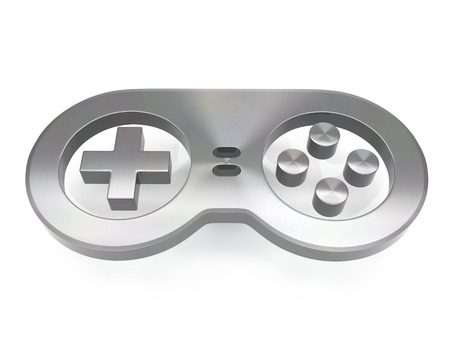 3d brushed metal game controller icon over white background