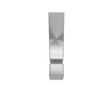 3d brushed metal exclamation point icon over white background