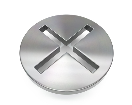 3d brushed metal cross icon over white background