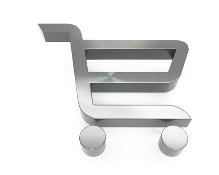 3d brushed metal shopping cart icon over white background