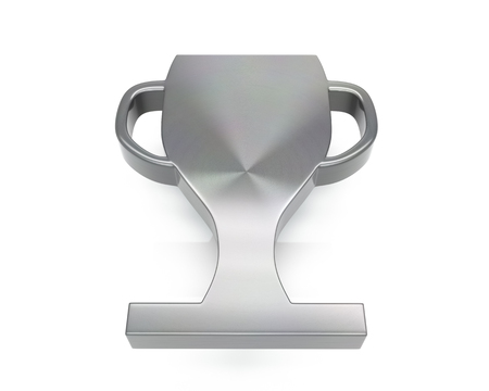 3d brushed metal trophy icon over white background Stock fotó