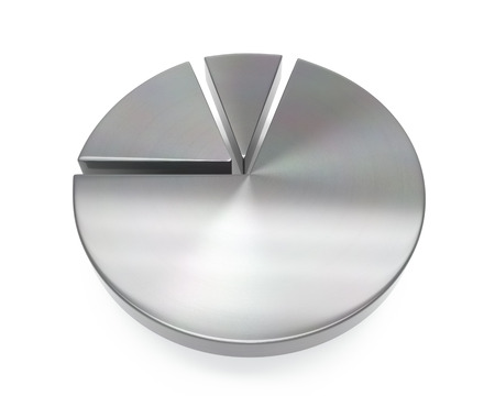 3d brushed metal pie chart icon over white background Stock fotó