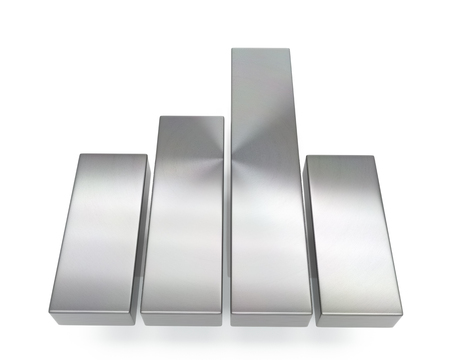 3d brushed metal data chart icon over white background