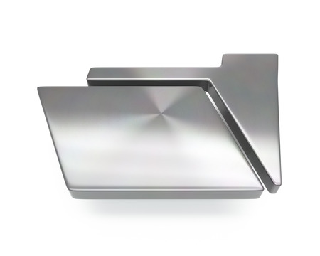3d brushed metal folder icon over white background