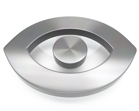 3d brushed metal eye icon over white background Stock fotó