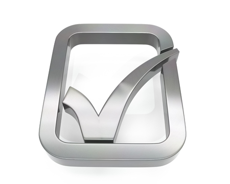 3d brushed metal check icon over white background