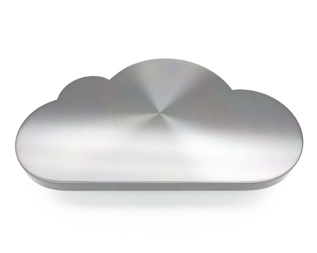 3d brushed metal cloud icon over white background