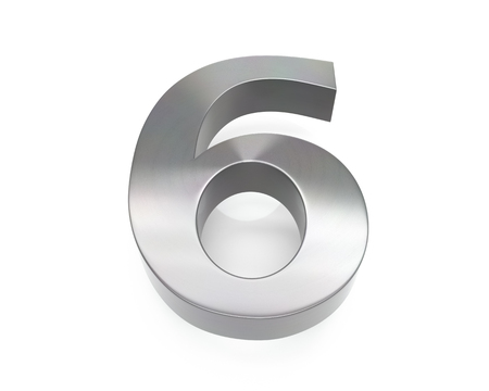 3d brushed metal six number over white background