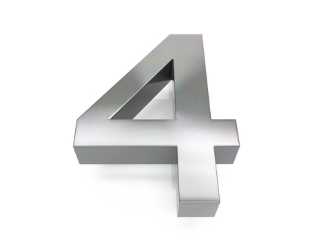 3d brushed metal four number over white background