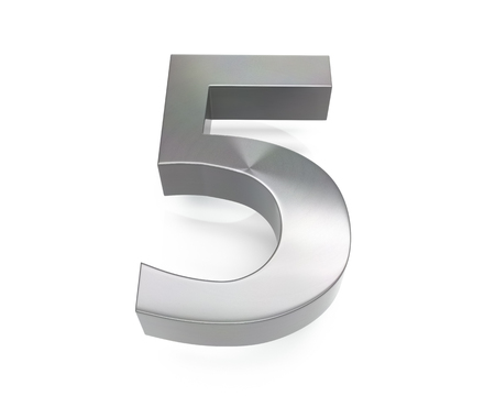 3d brushed metal five number over white background