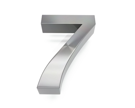 3d brushed metal seven number over white background