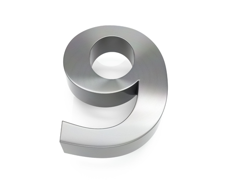 3d brushed metal nine number over white background