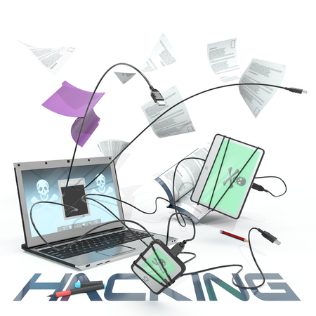 hacking attack represented by USB cables popping out from laptop screen and hacking other devices over white background
