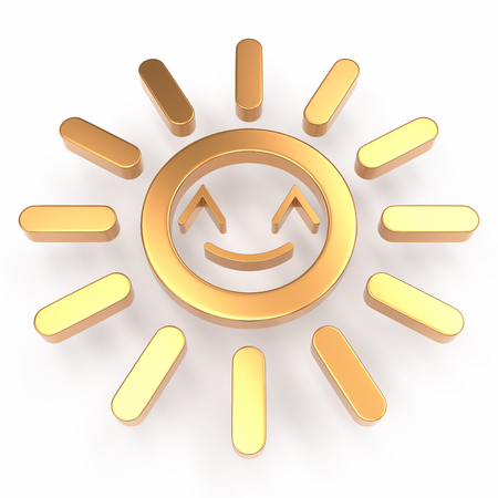 Happy sun 3D icon over white background