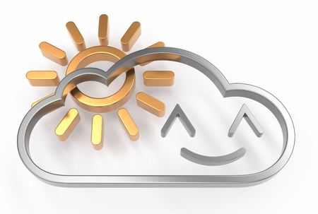 happy cloud 3d icon with sun over white background