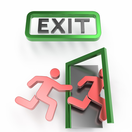 exit 3d icon over white background