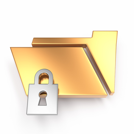 locked folder 3d icon over white background