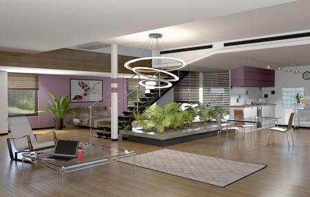 interior of a modern house, 3d Stock fotó - 126491502